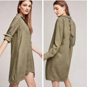 Cloth & Stone Farryn Lace Back Green Shirt Dress L